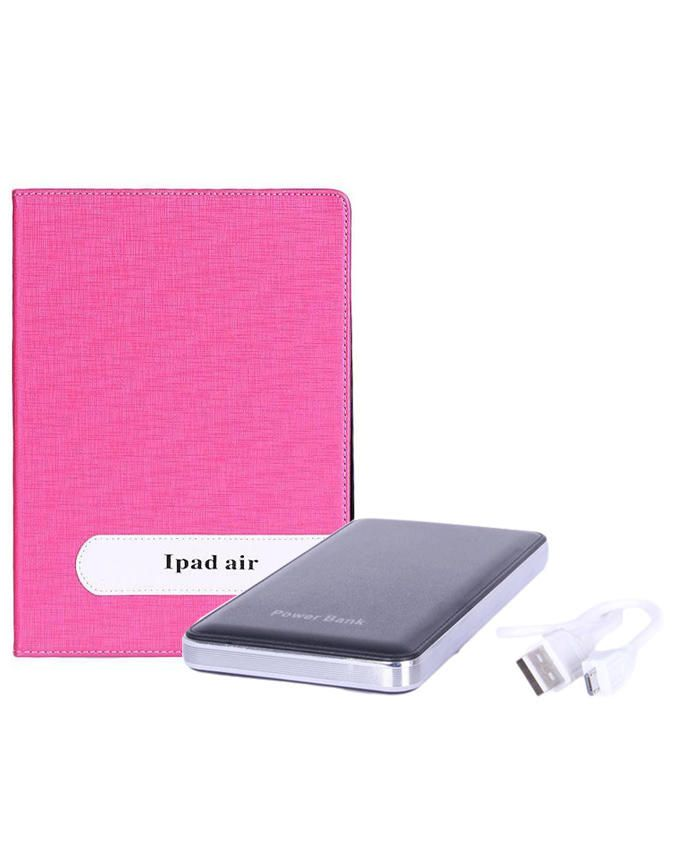 Leather Case for Apple iPad Air - Pink + 12000mAh Mobile Power Bank - Pink