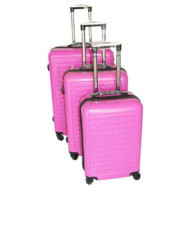 3-Piece Travel Suitcases - Pink