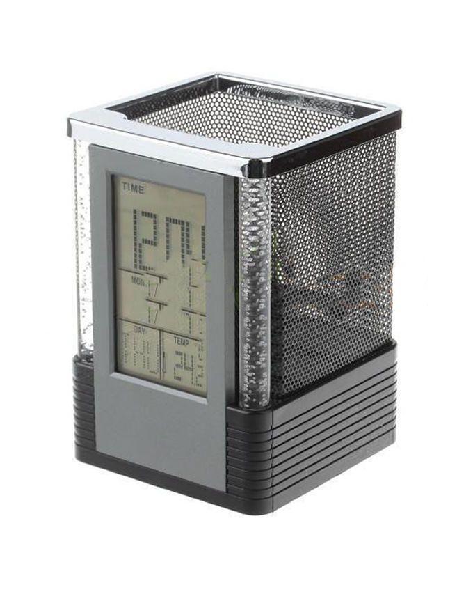 Digital LCD Calendar Pen Holder with Clock
