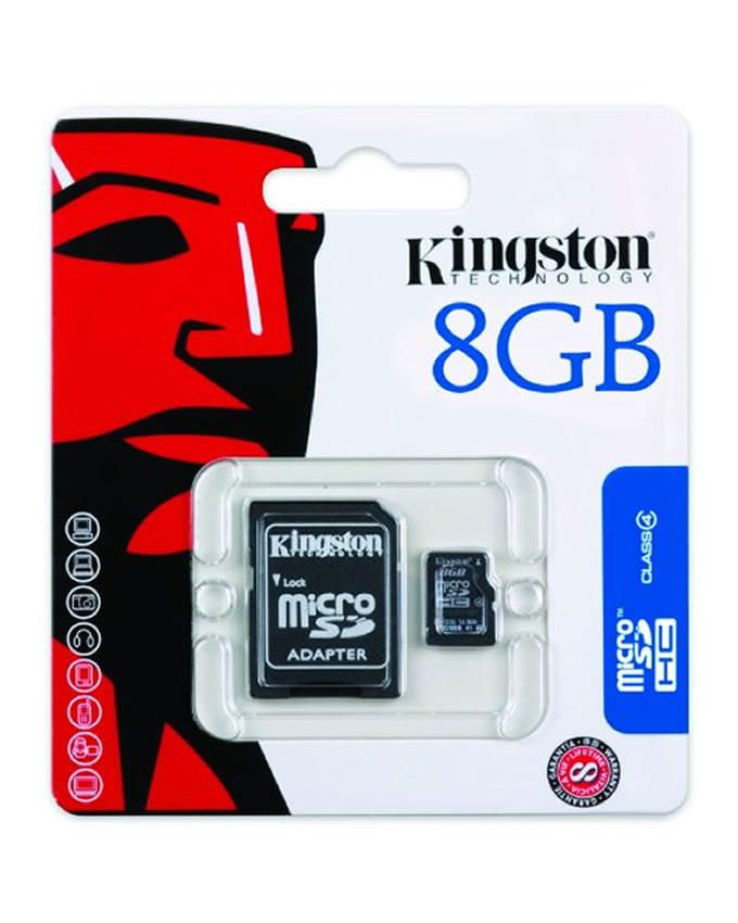 8GB MicroSDHC Class 4 Memory Card With Adapter (SDC4/8GB)