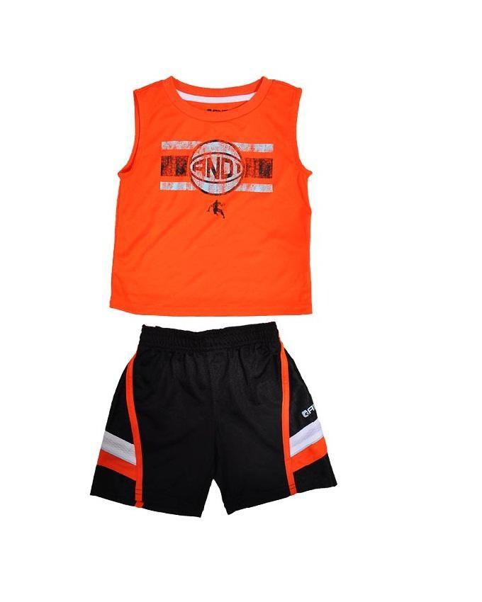 Boy's Active Top & Shorts Set - Orange & Black