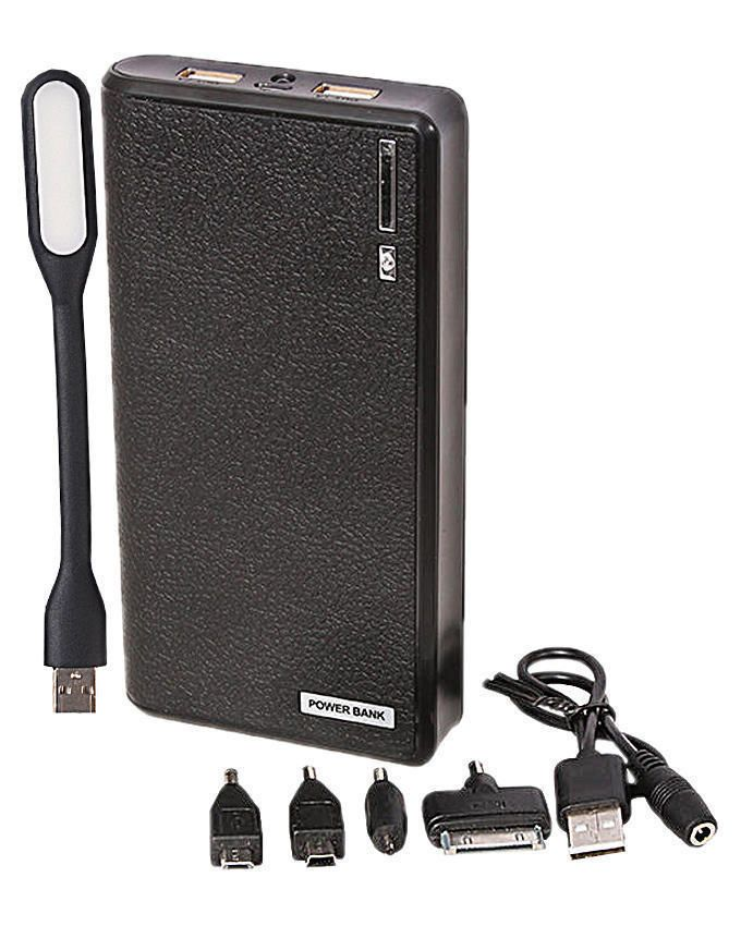 30,000mAh Power Bank With USB Lamp - Black