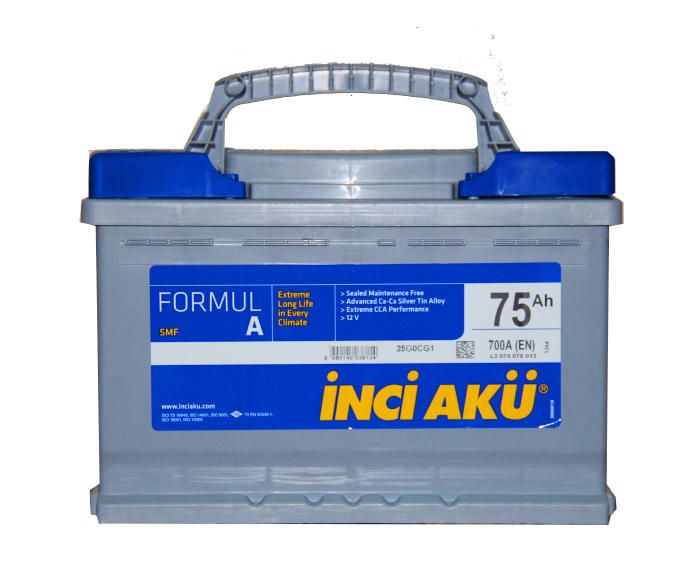 75AH DIN/Flat Car Battery - Black