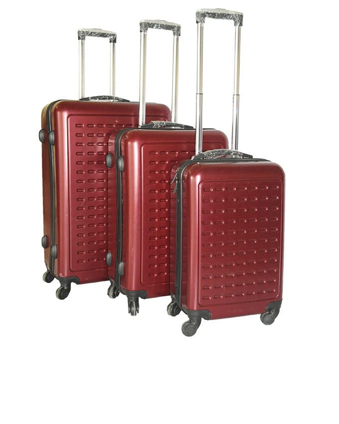 3-Piece Travel Suitcases - Red