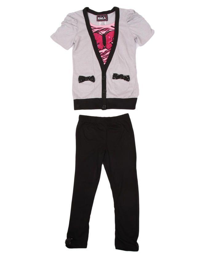 Cardigan Top & Leggings Set - Grey / Black