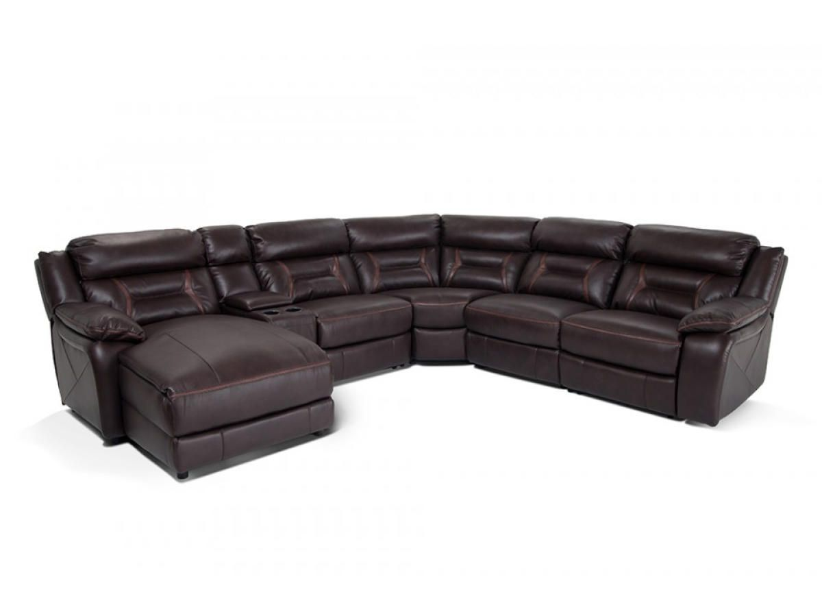 Hapt Opulent Brown Leather Sectional Sofa With Cup Holder