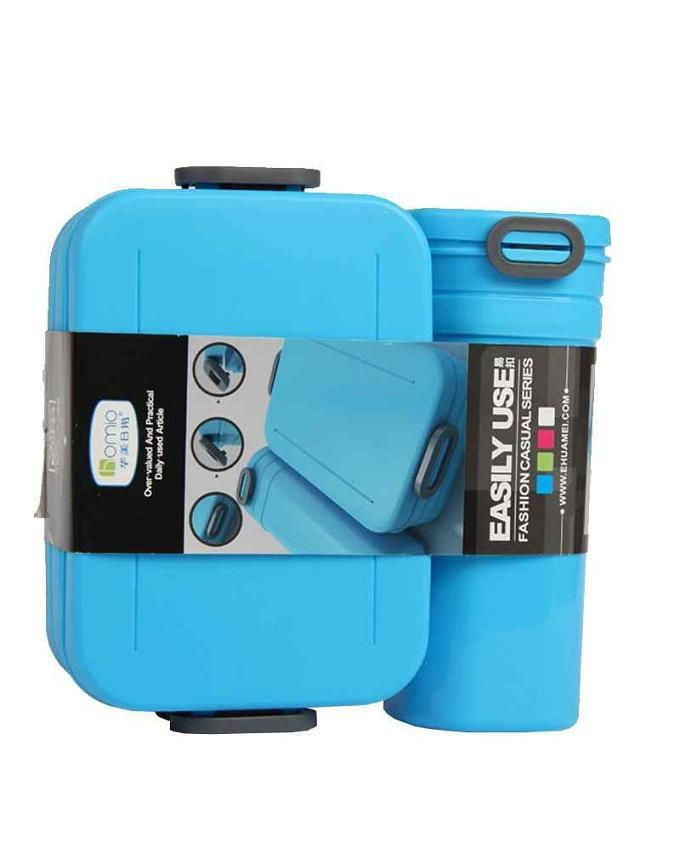 Lunch Box With Water Bottle Combo - Blue