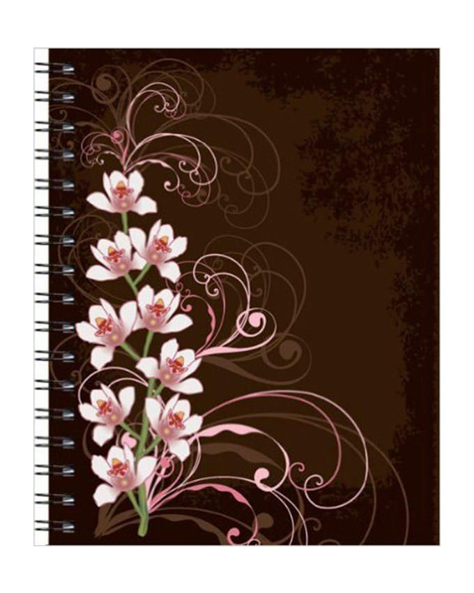 Large Wire-o Journal - Orchids On Brown