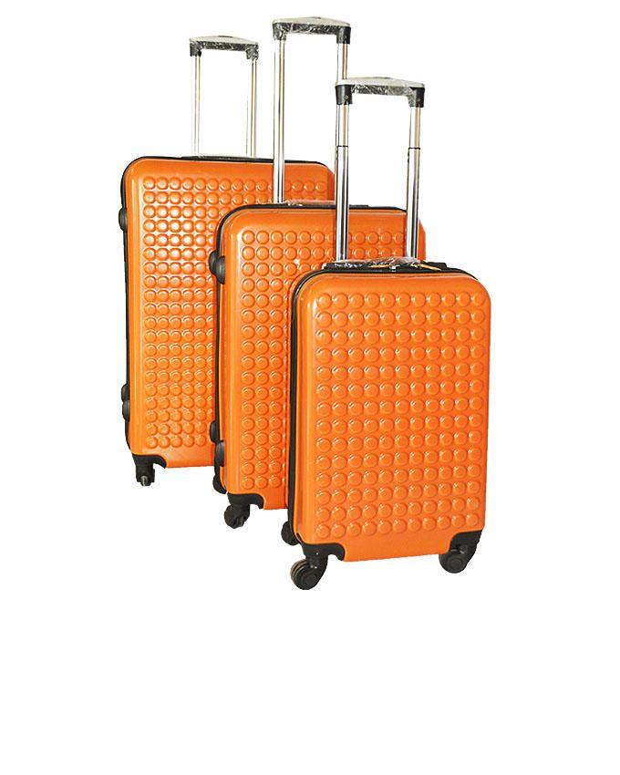 3-Piece Travel Suitcases - Orange
