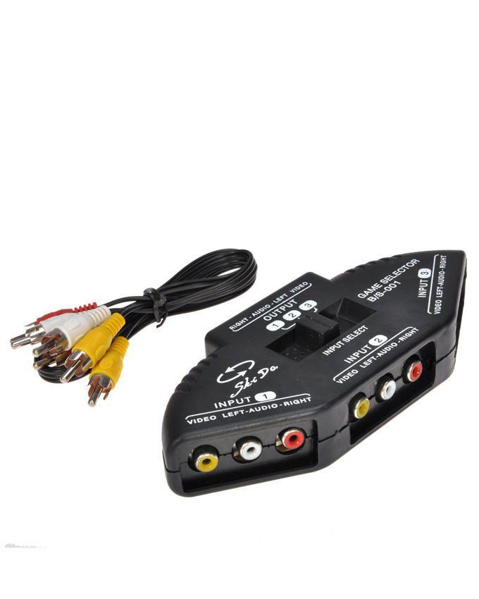 3 Port AV Composite + Audio RCA Phono Selector Switch - Black