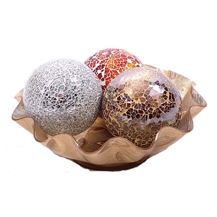 Universal decorative mosaic glass ball with bowl