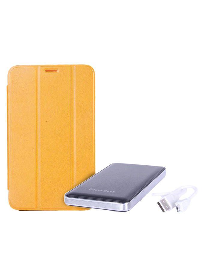 7-Inch Flip Case for Samsung Galaxy Tab 3 Lite - Yellow + 12, 000mAh Mobile Power Bank - Silver