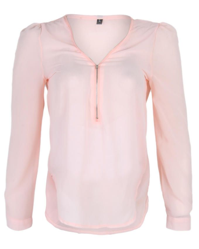 Long Sleeve Plain Top with Zip detail - Peach
