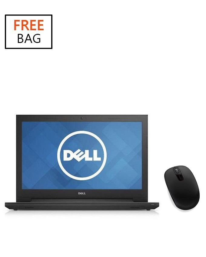 Inspiron 15 3543 Intel Pentium Dual Core (4GB,500GB HDD) 15.6-Inch Windows 8 Laptop With Bag And Microsoft Wireless Mobile Mouse 1850 - Black
