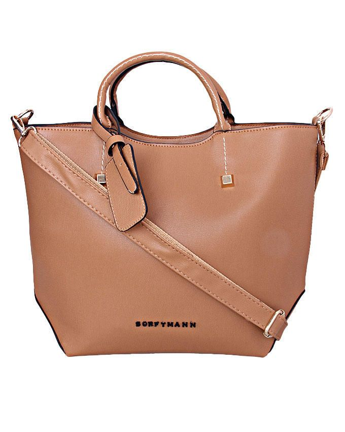 Ladies Tote Twin Handle Bag - Camel