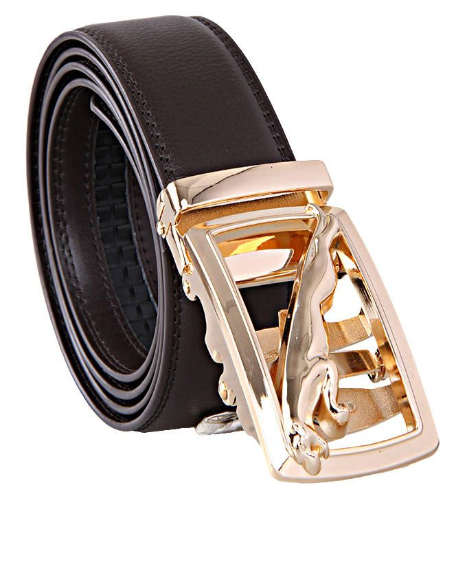 Jaguar Gold Buckle Belt - Brown
