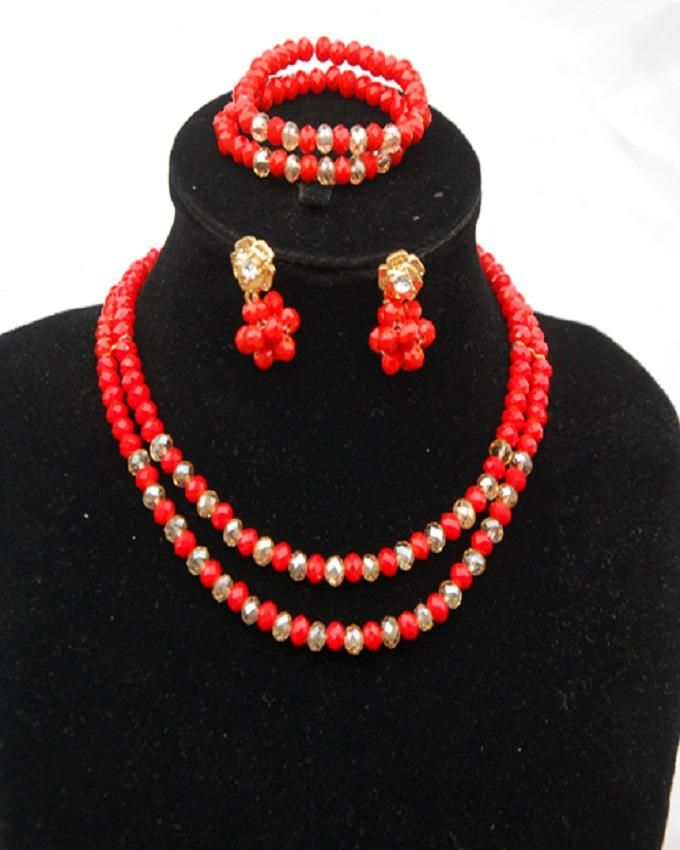 2 Lines Red Mixed With Gold Children Bead Comes With Earrings and Bracelet