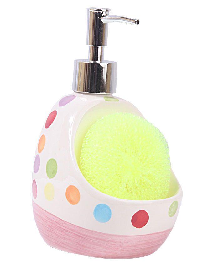 Ceramic soap dispenser with sponge