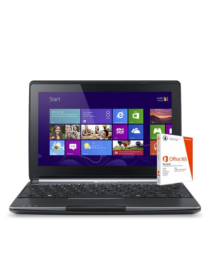 Packard Bell EasyNote ENME69BMP Intel Celeron (2GB,500GB HDD) 10.1-Inch Touchscreen Windows 8 Netbook And Office 365 Personal 1Year<br />