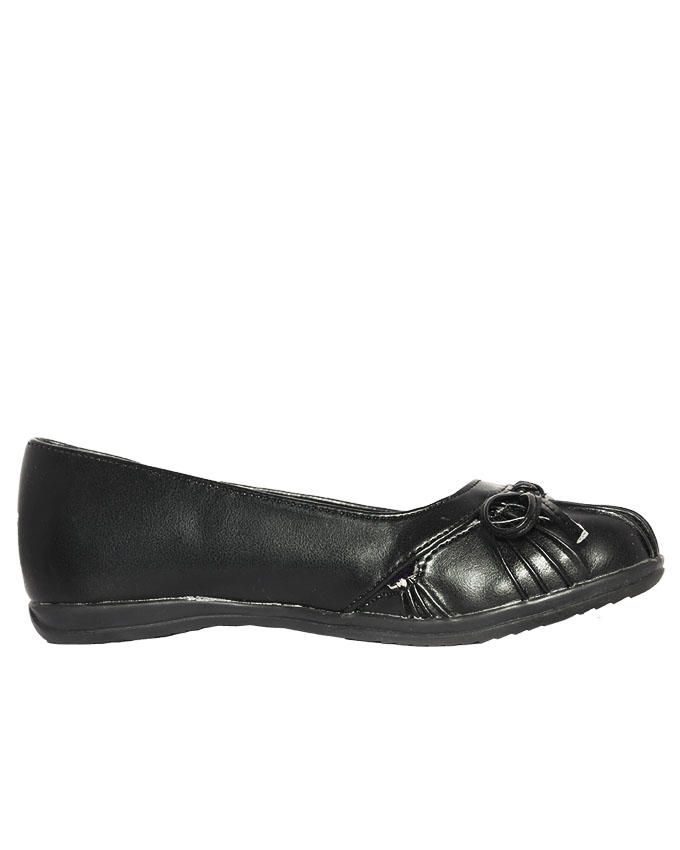 Bow Striped Designed Black Shoe