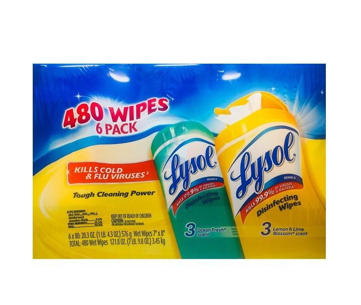 6 Pack 480 disinfecting wipes