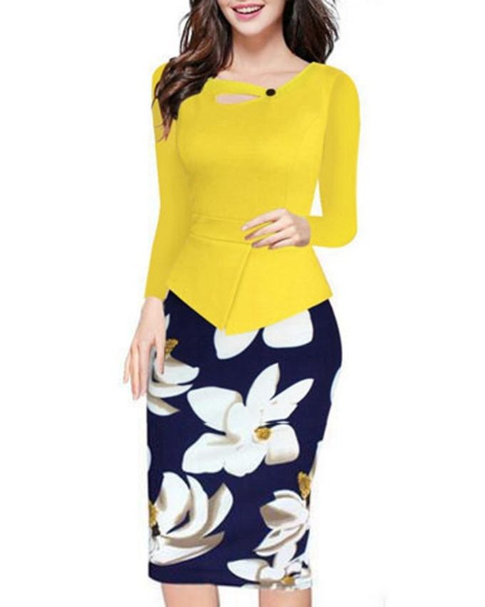Yellow Long Sleeve Bodycon Dress