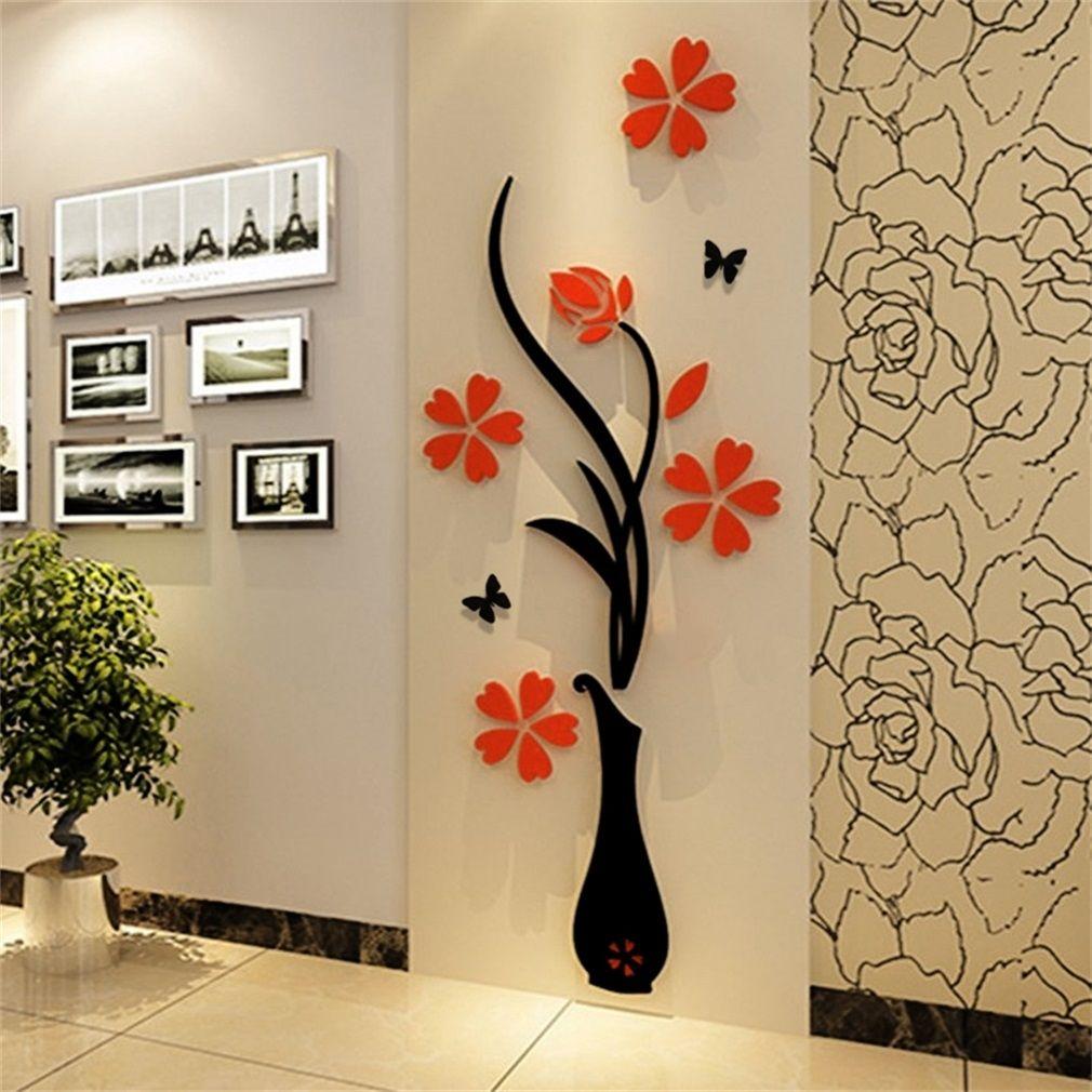 Allwin 3d Acrylic Vase Plum Pattern Room Tv Backdrop Entrance Home
