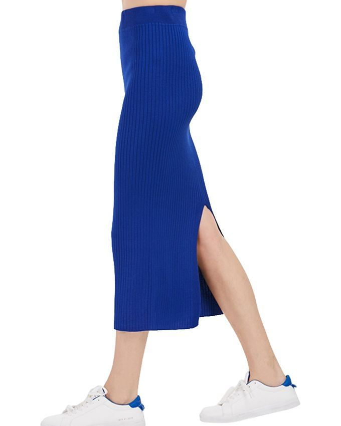 fashion elastic rib knitted bodycon skirt royal blue