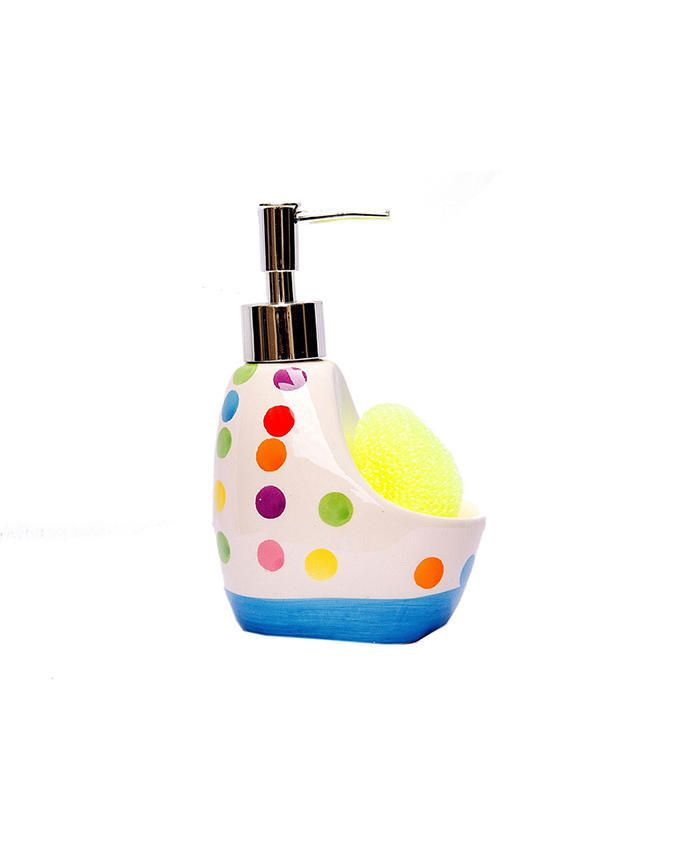 Kitchen Ceramic Soap Dispenser With Sponge
