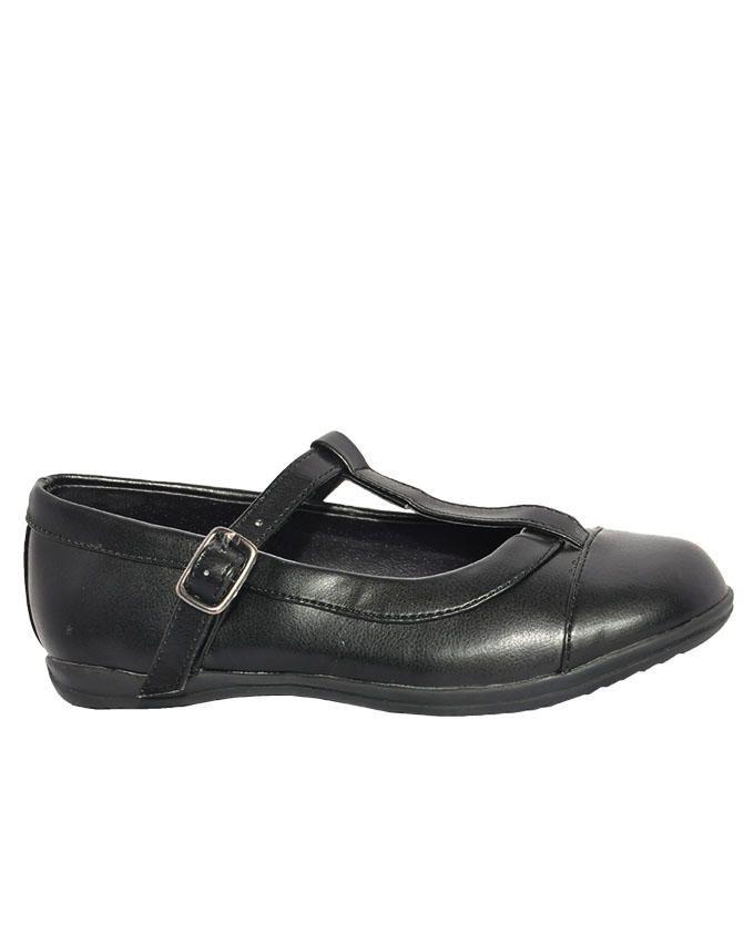 T-Bar Black Covered Shoe
