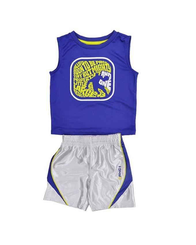Boy's Active Top & Shorts Set  - Purple/Grey