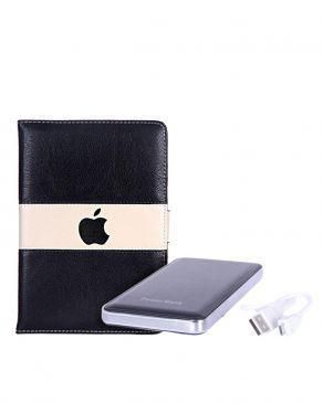 7-Inch Leather Case For Apple ipad Mini Tablet - Dark Brown/Cream + 12000mAh Mobile Power Bank - Silver