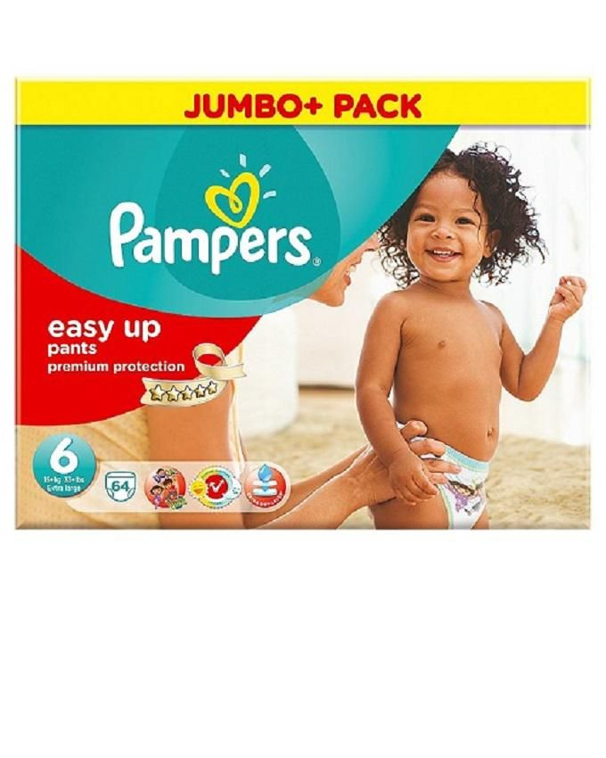 Pampers Easy Ups Size 6 (Extra Large) Mega Pack - 64 Nappies