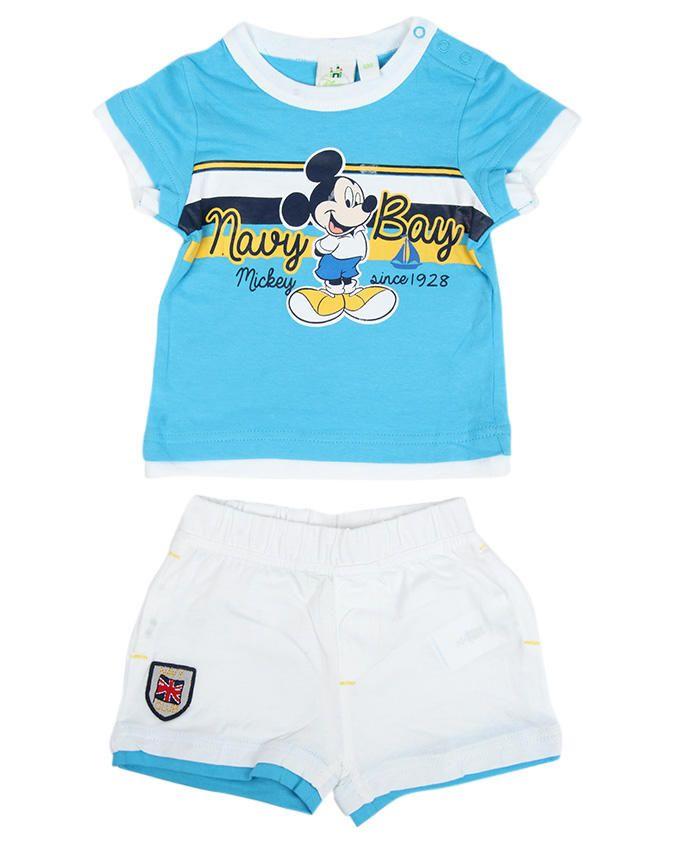 Printed T-shirt & Short Set - Light Blue / White