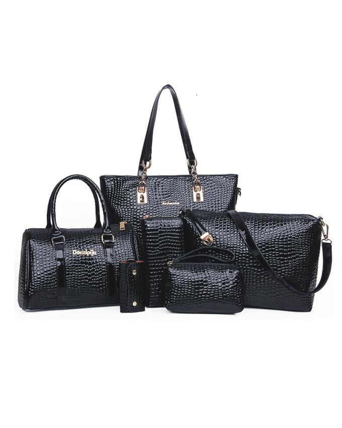 6 in 1 Crocodile Handbag - Black