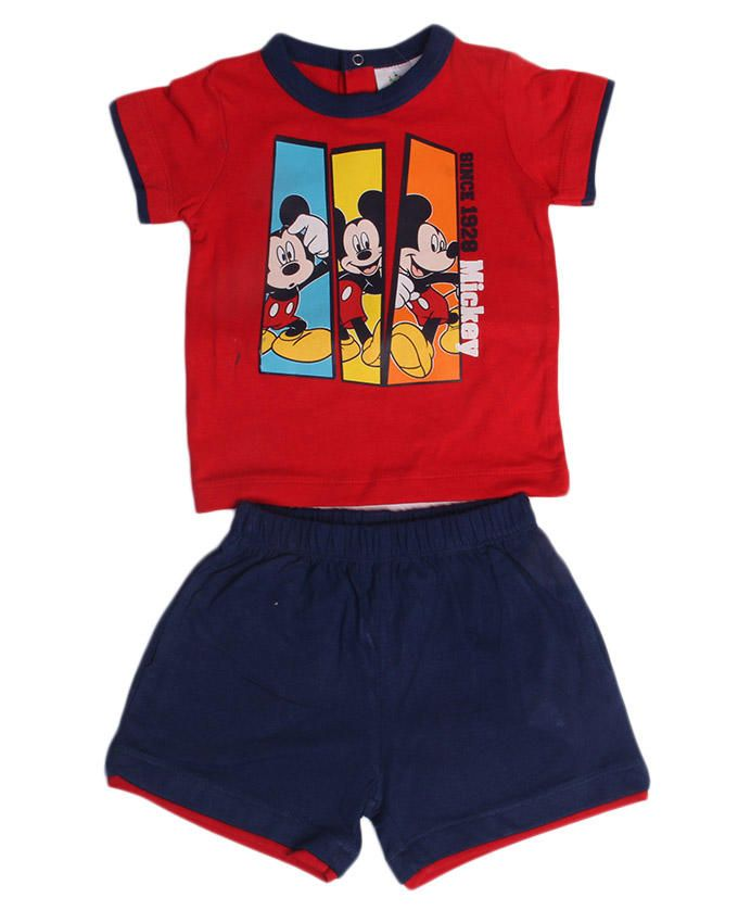 Set Of Print T-shirt & Shorts - Red / Navy Blue