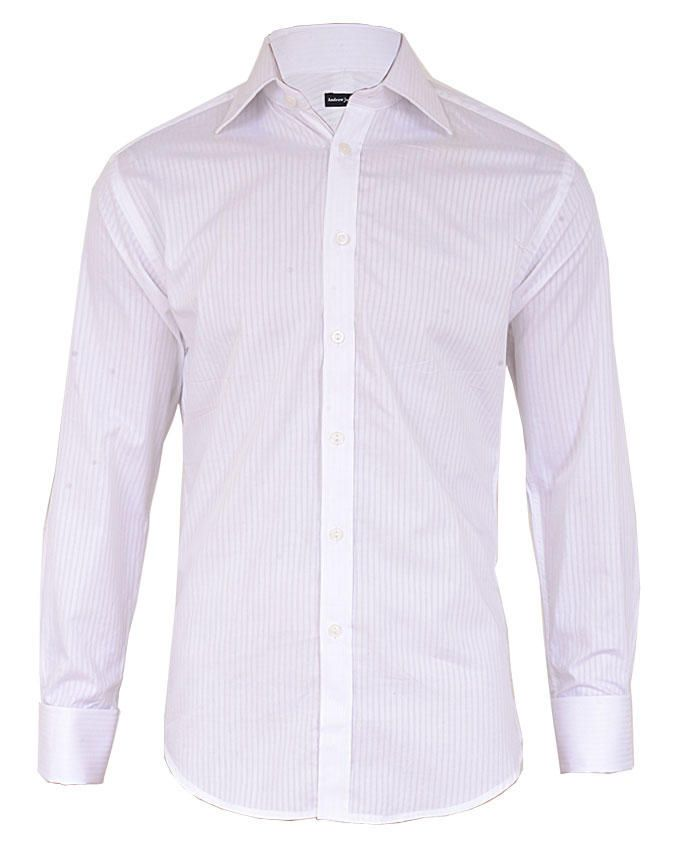 Fitted Pin Stripe Long Sleeve Shirt - White