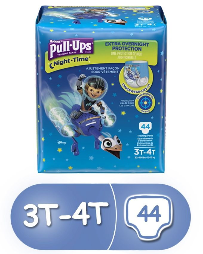 Pull-Ups Training Pants Night Time for Boys, 3T-4T, 44 Count (Pack of 2)