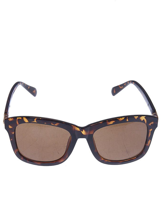 Leopard Print Sunglasses With Gold Rims - Brown