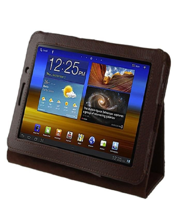 Leather Case For Samsung Galaxy Tab 7.7 / P6800 - Brown