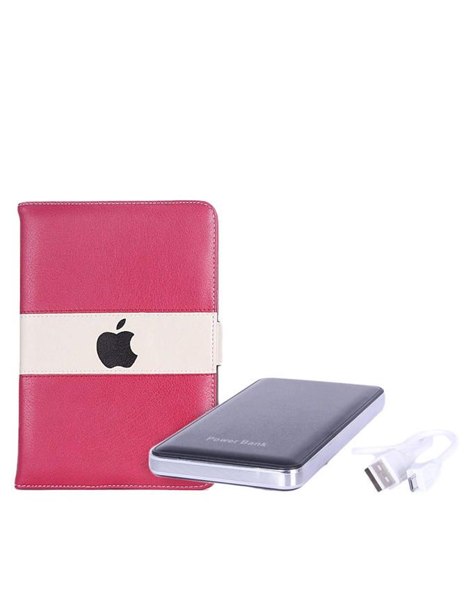 7-Inch Leather Case for Apple iPad Mini Tablet - Red/Cream + 12000mAh Mobile Power Bank - Red