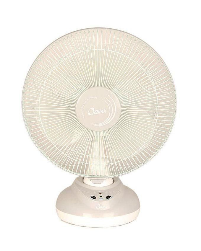 "Qlink 12"" Rechargeable Table Fan - White"