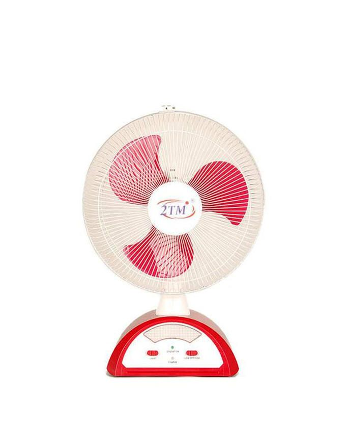 "2TM 14"" Rechargeable Fan- Red"