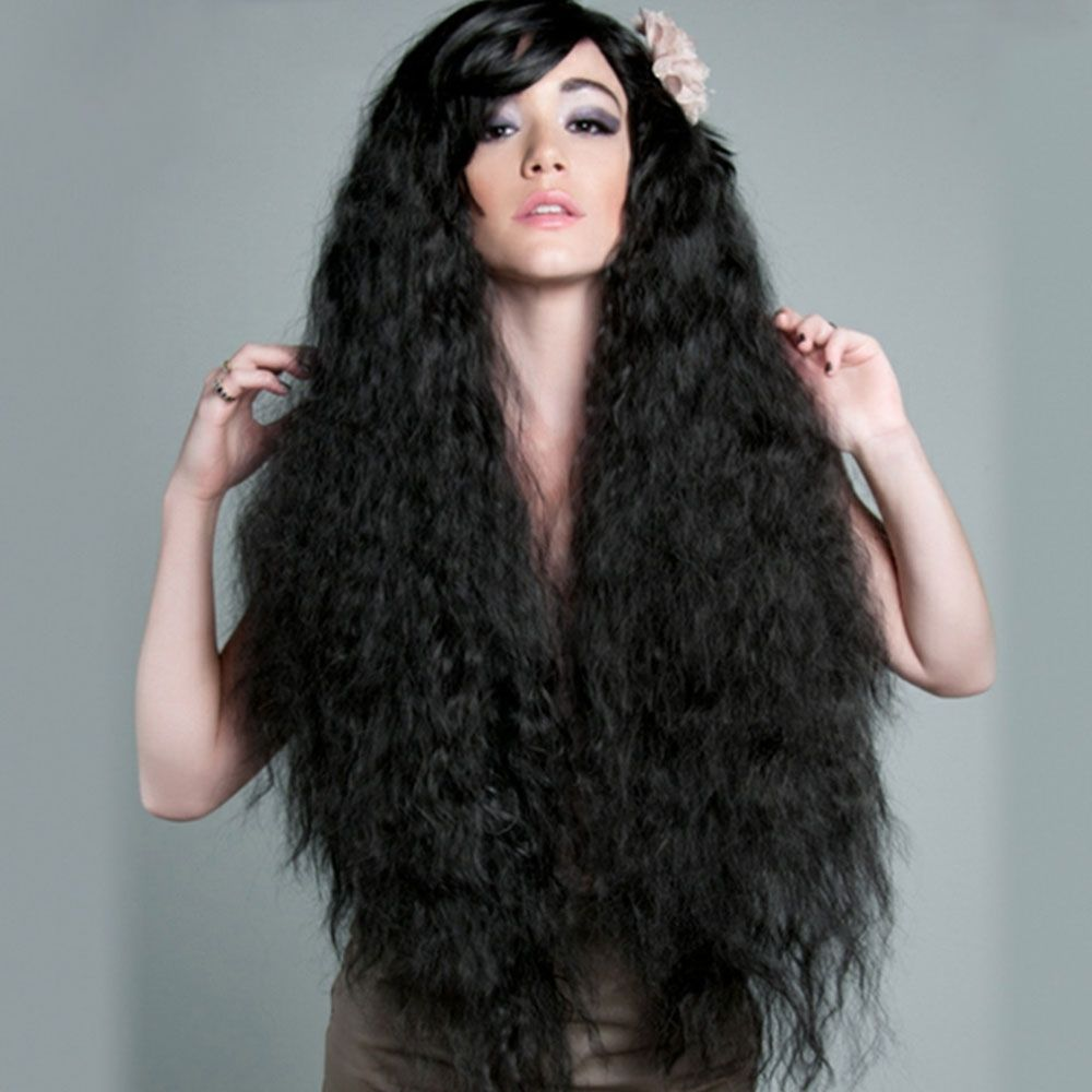 Generic Long Curly Black Wigs Shaggy Perm Hairstyle