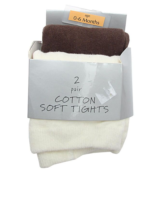 Girls 2 Pack Knitted Tights - Cream & Brown