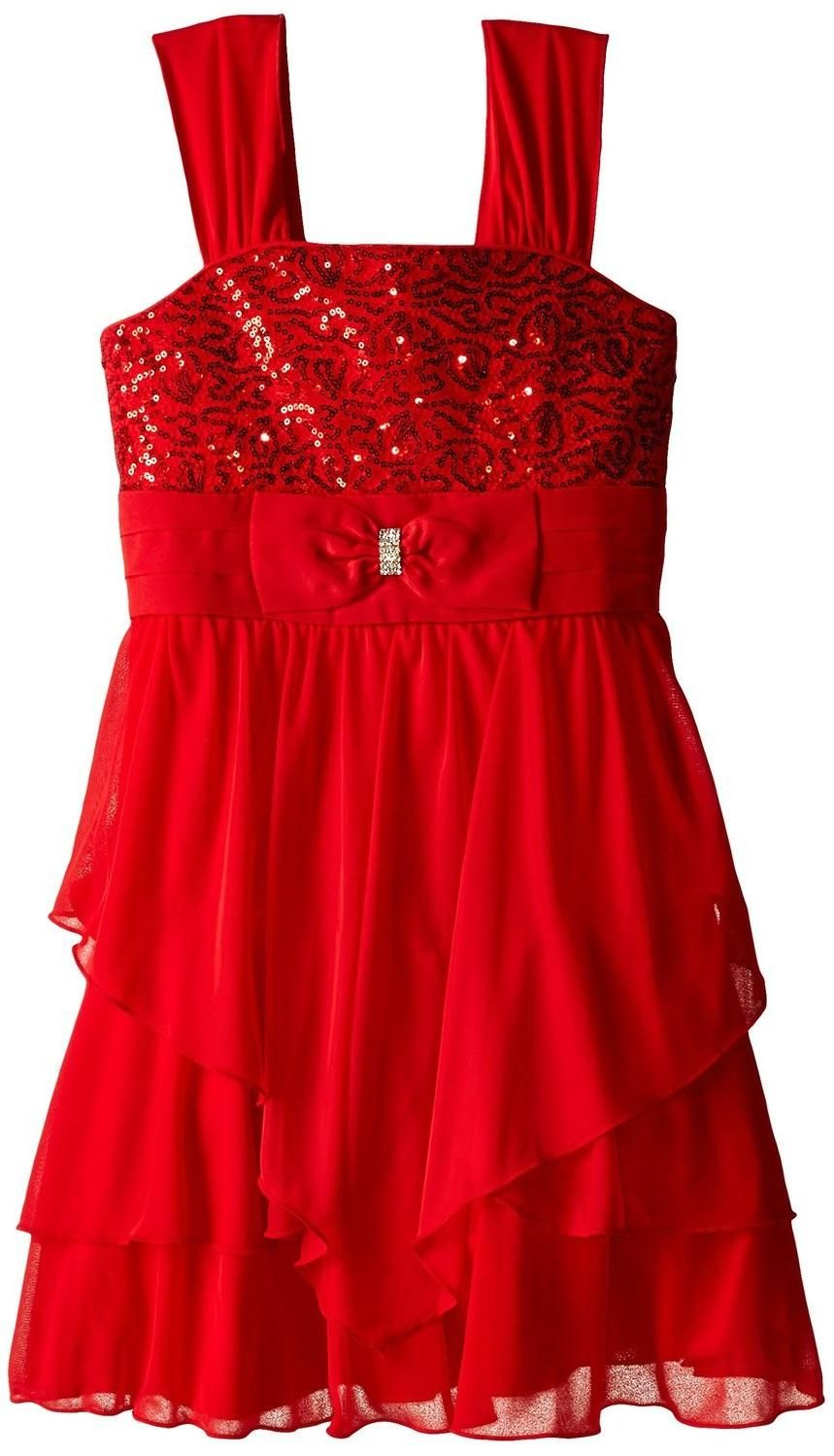 Ruffle Dress With Sequin Bodice And Bow Waistband - Red