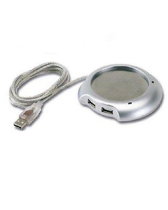 USB Mug Heater Pad With 2 Port USB Hub - Silver