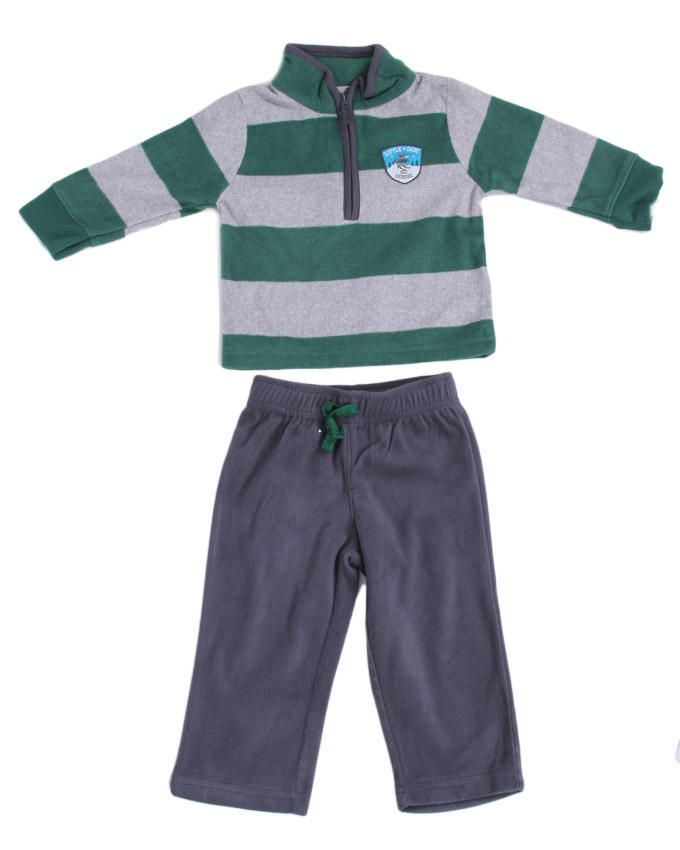 Baby Boy Green Striped Fleece  - Grey / Green