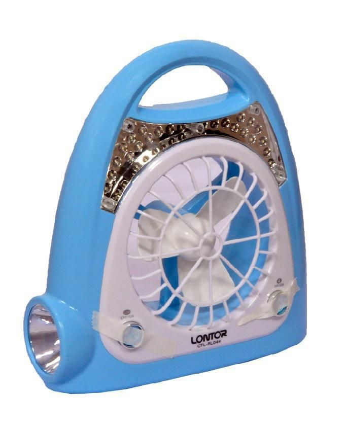 Rechargeable Lamp & Fan - Blue