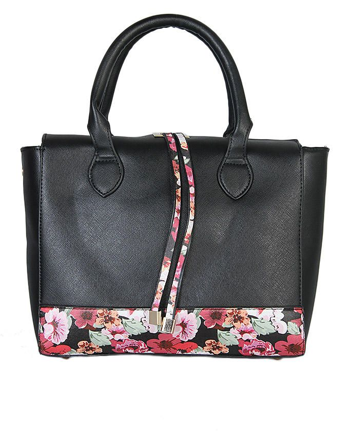 Ladies' Floral Print Handbag - Black